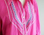 Hot Pink - Bob Mackie - Embroidered - Squaw - Patio Blouse - Rick-rack