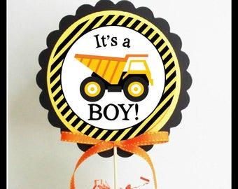 INSTANT It's a Boy! Construction Theme Centerpiece Stick Printable File Center Circle DIY Project