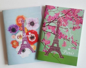 "Set of 2 small notebooks ""Eiffel Tower 2"" Anemones and pink flowering branch, satin cover, 40 pages"