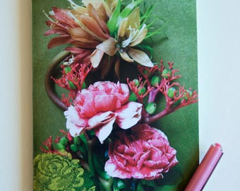"""Bouquet of carnations"" and fleuir tapestry on green background, glossy paper cover notebook"