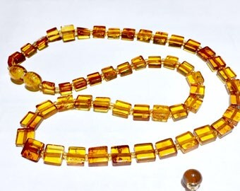 Honey Cognac amber necklace and earrings sterling silver 925