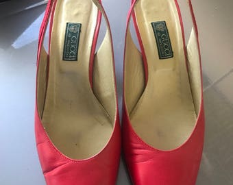 Vintage Gucci red leather and brass sling back heel- 37 1/2 B