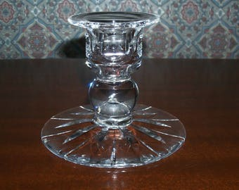 Vintage Stuart Clear Cut Crystal SINGLE Candlestick Holder - HAMPSHIRE  Pattern - 3 Inches High