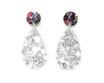 Chunky Silver Glitter Small Drop Earrings