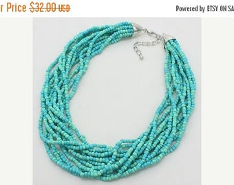Multi strands Necklace, Mint Silver Necklace, Statement, Bib Necklace, Twisted, Glass beads, handmade gift idea.