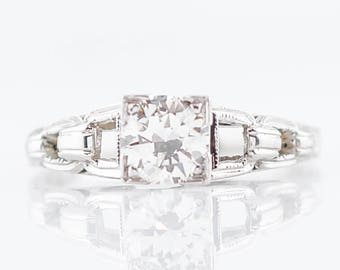 Antique Engagement Ring Art Deco .60 Round Brilliant Cut Diamond in 18k White Gold