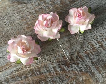 Pink Rose Hair Clips, Blush Rose Hair Slides, Wedding Hair Accessories, Bridal Hair slide, Mulberry Rose Hair Clip, Rustic Wedding Hair Clip