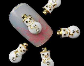 Snowman Nail Charm 2 pcs / Nail Art / Nail Charm / Snow / Winter / Christmas