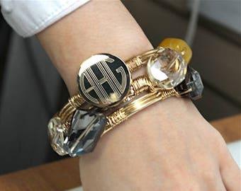 Yellow & Clear Engravable wire wrap Bracelet