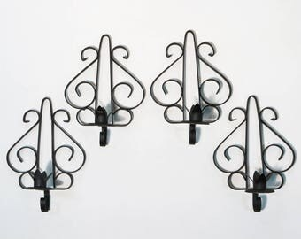 Set of 4 Vintage Wall Mounted Candle Holders Brutalist Gothic Black Wrought Iron