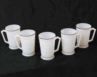 "5 Hazel Atlas Moderntone Platonite White w/Brown Stripe 4"" Mugs Deco Milk Glass"