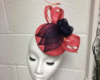 SAMPLE Coral & Navy Small Button Hat