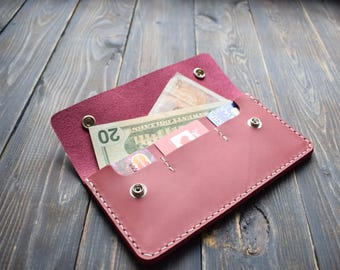 Leather long wallet, womens long wallet, womens truckers wallet, womens passport wallet, passport wallet