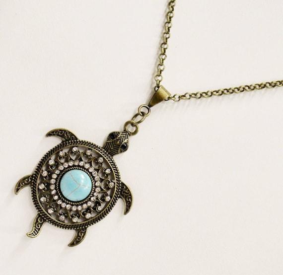 Turtle Necklace, Antique Bronze Turtle Necklace, Turquoise Turtle Necklace, Sea Turutle Gift, Sea Turtle Jewelry, Sea Turtle Necklace Gift