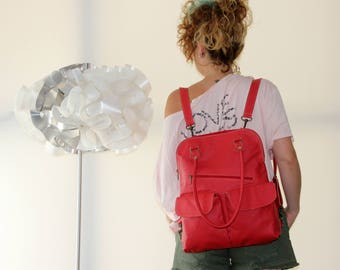 Red Leather Backpack, backpacks for women, womens leather backpack,  womens backpack purse, leather backpack women