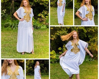 White Moroccan kaftan Maxi Dress with gold embroidery