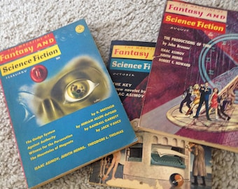 Three Paperback Copies of The Magazine of Fantasy and Science Fiction 1966