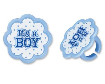 It's A Boy Baby Shower Cupcake Topper Rings - Set of 12