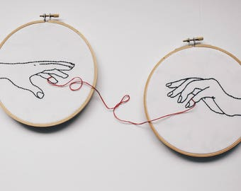 embroidery hoop art. embroidered. hand embroidery. modern embroidery. long distance relationship. long distance. red string of fate.