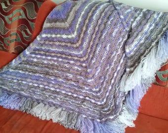 Crochet shawl with fringe