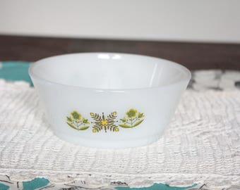 Vintage Anchor Hocking Fire King Dish with Green Meadow Design