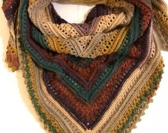 Crochet Shawl, Multi Color Shawl, Crochet Wrap, Crochet Scarf