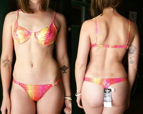 80s Thong Bikini Neon, Brazilian Bikini Vintage 2 Piece Swimsuit, Underwire Bikini Small,