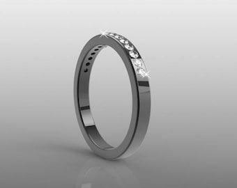 Payment Plan, 14k black gold wedding band for her, 15 natural white diamonds(G-H/VS-SI), AKR-471