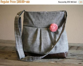 CHRISTMAS SALE Concealed Carry Purse, Medium Messenger Bag, Grey Conceal Carry Purse, Conceal Carry Handbag, Concealed Carry Purse, Conceal