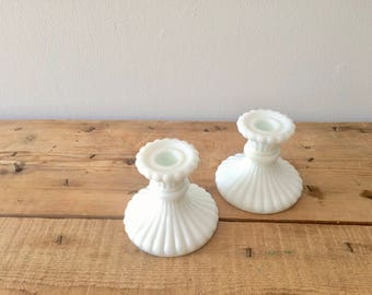 Imperial Glass 1950's Milkglass CandleStick Holder, Vintage White Wedding Tablescape Accent,  Farmhouse Hygge Home Christmas Decor Gift, USA