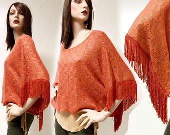 Vintage 90s Hippie Poncho Orange Terracotta SOFT FRINGE Batwing Drape Cape