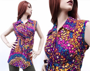 CURVY ~ Vintage shirt ~ 60s shirt ~ Psychedelic ~ flower power ~ vintage Tops ~ Neon shirts - Retro Clothing ~ L/XL