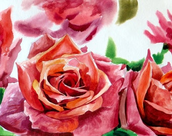 Roses 2  Original painting made by hand with watercolors
