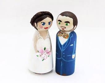 Wedding cake topper / Peg doll wedding wood / Couple figurines cake / Decorative figurine / Wedding figurine figurine - To customize