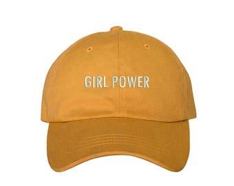 "GIRL POWER Dad Hat, Embroidered ""Girl Power"" Feminism Hat, Low Profile Feminist Girl Gang Baseball Cap Hat, Burnt Yellow"