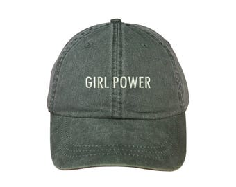 """GIRL POWER Washed Dad Hat, Embroidered """"Girl Power"""" Feminism Hat, Low Profile Girl Gang Feminist Baseball Cap Hat, Olive Green"""