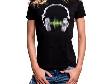 Womens Hip Hop Shirt - Headphones - Summer Top for Girls black S/M/L