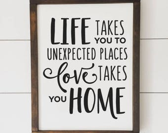 Unexpected Places // Framed Wood Sign // Farmhouse Decor // Rustic Wood Sign // Farmhouse Sign
