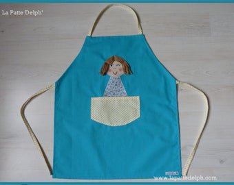Apron customize original for girl: Poupette Turquoise