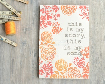 Wood Sign with Coral Flowers. Hymn Lyrics.