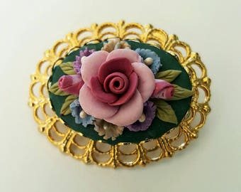 Vintage 1960s Polymer Clay Flower Brooch with Gold Frame