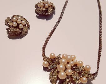 Vintage 1960s Pearl and Rhinestone Necklace and Clip On Set Demi Parure