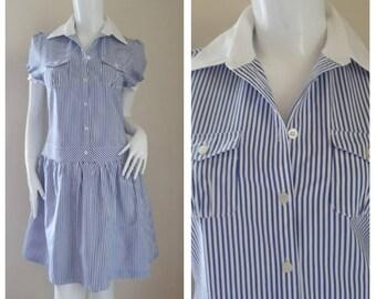 Mary Quant Stripe Cotton Striped Dress Shirt Size M