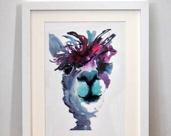Alpaca gifts, alpaca print, alpaca art, alpaca wall art, alpaca art print, alpaca decor, bright artwork, nursery prints, nursery wall art