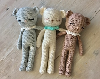 Pretty TEDDY-bear 100% cotton with collar, crochet teddy, crochet toy, teddy-bear,toddler gift, newborn birth gift, teddybear crochet cotton