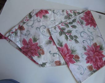 Free Shipping - Poinsettia - Table Runner- 14'' x 68'' - Christmas Table decoration -