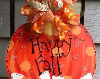 Pumpkin door sign, pumpkin sign, candy corn sign, happy fall y'all sign, fall door sign, fall door hanger, halloween door sign, halloween