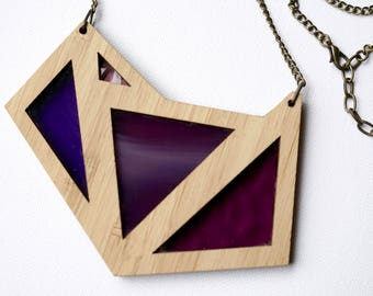 Shades of Purple Glass in Foxface Wooden Pendant on chain
