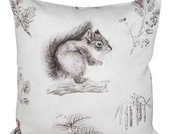 Sanderson Squirrel & Hedgehog Woodland Walk Walnut Cushion Cover