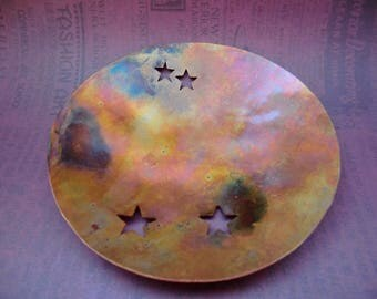 "Rustic, Handmade, Solid Copper Star bowl 4"" x 4""x 3/4"""